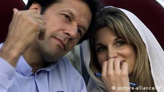Imran Khan, left, with his former wife, Jemima Khan at an election rally in Islamabad, Pakistan (Photo: AP Photo/B.K.Bangash, File)