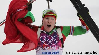 Darya Domracheva's gold in the 15 km biathlon was one of two for Belarus on Friday. Photo: dpa