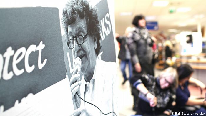 Close up of Kurt Vonnegut poster, part of a travelling exhibit, in Dresden Photo: Ball State University