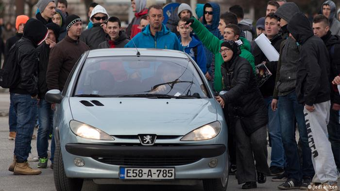 Protesters intimidated drivers who try to cross their human barricades in central Sarajevo (photo: Jodi Hilton)