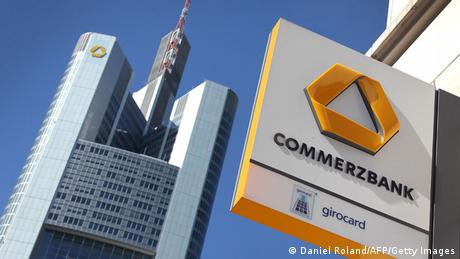 Logo outside the headquarters of Commerzbank in Frankfurt am Main (Daniel Roland/AFP/Getty Images)