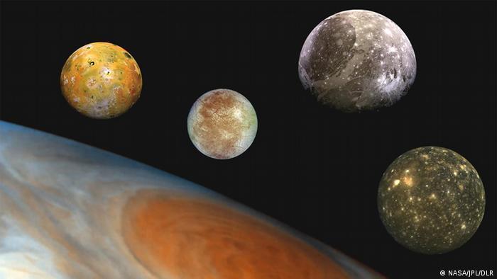 Jupiter-Monde Montage (NASA/JPL/DLR)