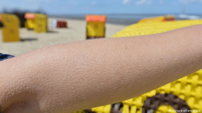 Ein Arm mit Gänsehaut am Strand