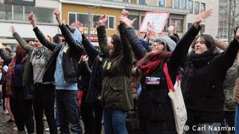 Women's rights flash mob in Cologne on Feb. 14, 2014