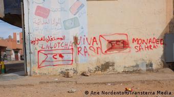 Graffitis en faveur de la République arabe sahraouie démocratique du Front Polisario, à Laâyoune