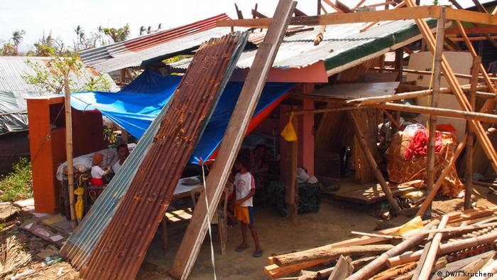 Destroyed houses in the Philippines