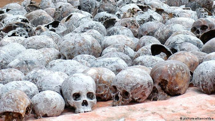 Skulls from people killed in the genocide