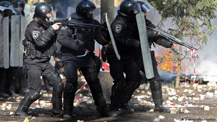 Бойцы Беркута во время протестов в Киеве