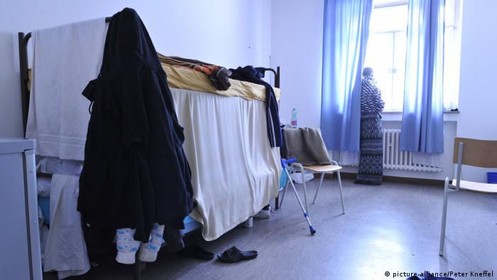 A room in a refugee shelter