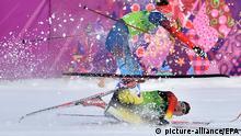 Tim Tscharnke (bottom) of Germany crashes next to Nikita Kriukov of Russia during the Men's Team Sprint Classic Final of the Cross Country event in Laura Cross-country Ski & Biathlon Center at the Sochi 2014 Olympic Games, Krasnaya Polyana, Russia, 19 February 2014. EPA/HENDRIK SCHMIDT +++(c) dpa - Bildfunk+++