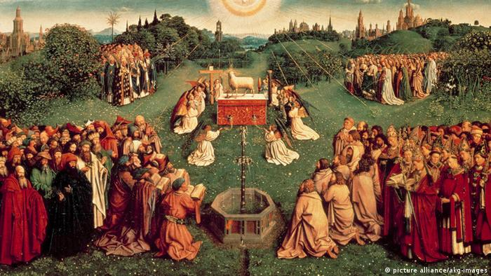 The van Eyck 'The Adoration of the Mystic Lamb,' pictured above, from 1432 was among the stolen pieces at Neuschwanstein