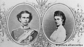 Black and white engagement postcard of King Ludwig II, left, who broke off his engagement to Duchess Sophie and lived in solitude most his life