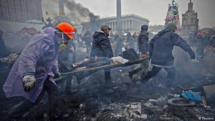 Эвакуация раненых на Майдане, 20 февраля 2014 года