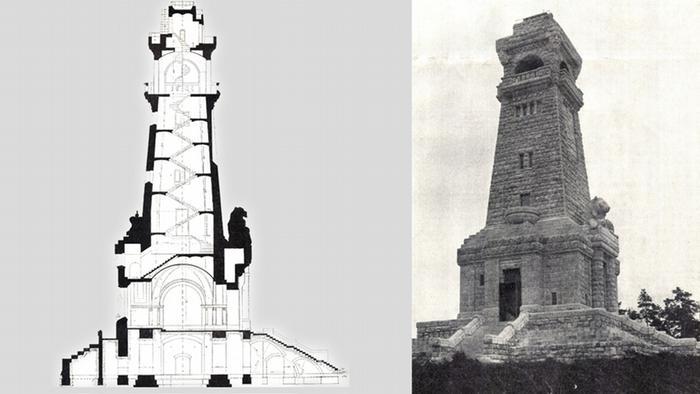 План башни в разрезе и старая фотография монумента Бисмарка на холмах Мюггельберге в Берлине