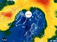 Hueco en capa de ozono sobre el Ártico, visto por el satélite europeo ERS-2 en febrero de 2007.