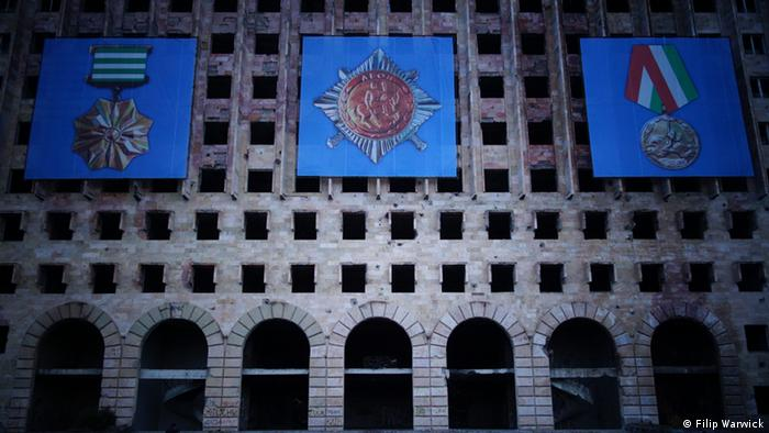 A picture of the shell of the Abkhaz Parliament building.