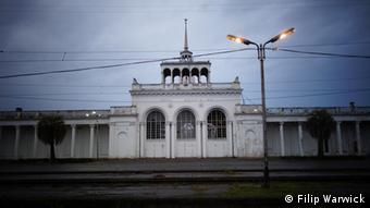 The train station in Sukhumi. Train services from Sukhumi to Moscow were cancelled for the duration of the Games.