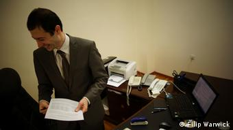 David Akopovich, Minister for Economics in his office.