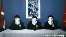 epa03914876 (FILE) - A file picture dated 20 October 2011 taken from the newspaper Diario Gara's website on 20 October 2011 shows three ETA members announcing the terrorist band's decision to cease fire in San Sebastian, Spain. Two years after ETA's announcement, the terrorist group has not yet disbanded or given in their weapons, just as all political parties have demanded. EPA/JAVIER ETXEZABARRETA