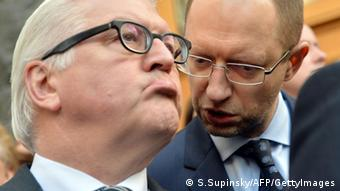Steinmeier and opposition leader Yatsenyuk in Kyiv