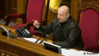 Alexander Turchinov seated in parliament, 22.02.2014