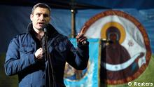 Ukrainian opposition leader and head of the UDAR (Punch) party Vitaly Klitschko addresses anti-government protesters after Ukrainian opposition leader Yulia Tymoshenko's speech in the Independence Square in Kiev February 22, 2014. Tymoshenko urged President Viktor Yanukovich's opponents on Saturday not to abandon their protests in central Kiev even though parliament has voted to oust him. REUTERS/Baz Ratner (UKRAINE - Tags: POLITICS CIVIL UNREST)