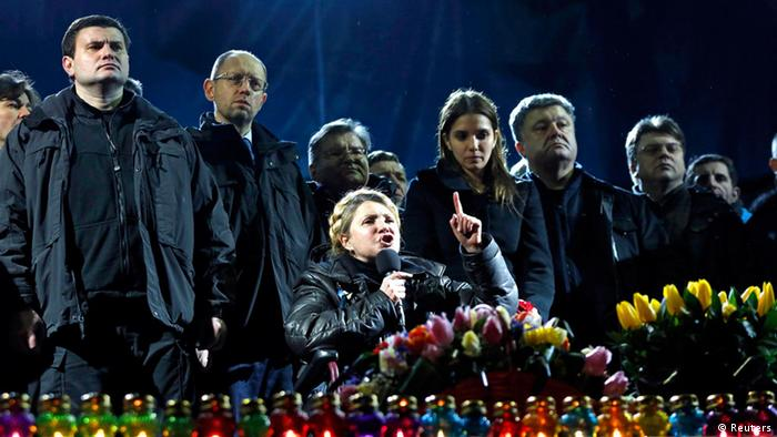 Yulia Tymoshenko speaking to protesters after her release from prison (c) REUTERS NEWS