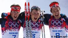 SOCHI, RUSSIA - FEBRUARY 23: Silver medalist Maxim Vylegzhanin of Russia, gold medalist Alexander Legkov of Russia and bronze medalist Ilia Chernousov of Russia celebrate after the Men's 50 km Mass Start Free during day 16 of the Sochi 2014 Winter Olympics at Laura Cross-country Ski & Biathlon Center on February 23, 2014 in Sochi, Russia. (Photo by Julian Finney/Getty Images)