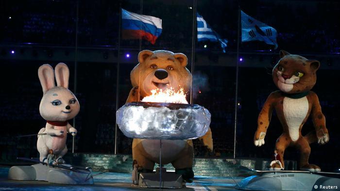 символы Игр в Сочи на церемонии закрытия Олимпиады
