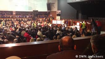 Sarajewo Versammlung der Demonstranten