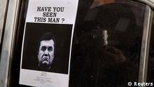 Ukraine Maidan in Kiew Fahndungsplakat Fahndung nach Janukowitsch