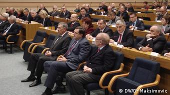 Radmanović, Dodik i Vlajki u prvom redu Skupštine RS