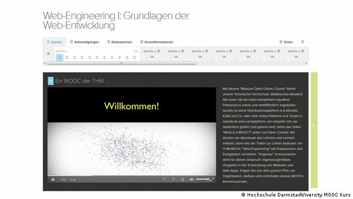 Screenshot eines Angebots der Hochschule Darmstadt auf iversity