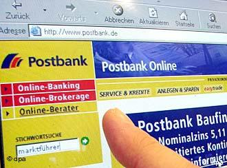 Фрагмент сайта банка Postbank