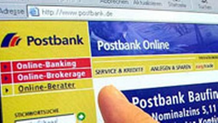 Phishing-mails spähen Daten aus, Postbank Internetseite
