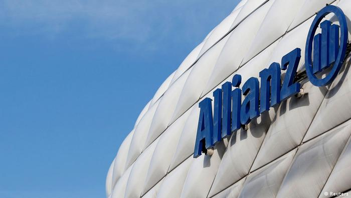 Allianz Versicherung Logo - The logo of Europe's biggest insurer Allianz SE is pictured at the Allianz Arena soccer stadium in Munich February 26, 2014. Allianz will hold their company's annual news conference on February 27, 2014. REUTERS/Michaela Rehle (GERMANY - Tags: BUSINESS LOGO)