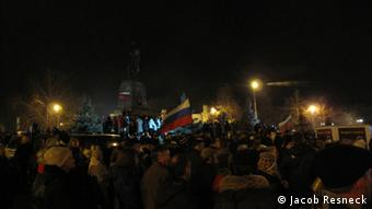Demonstration in Sevastopol at night on Wednesday (27.02.2014)