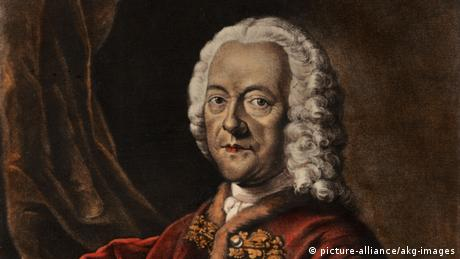 Georg Philipp Telemann in a watercolor from 1750 by Daniel Preisler, based on a lost painting by Ludwig Michael Schneider