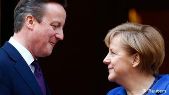 Angela Merkel i David Cameron in London w lutym 2014 w Londynie