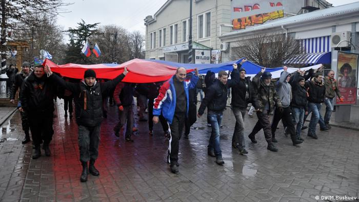 Pro-Russian demonstrators in Simferopol in Crimea.