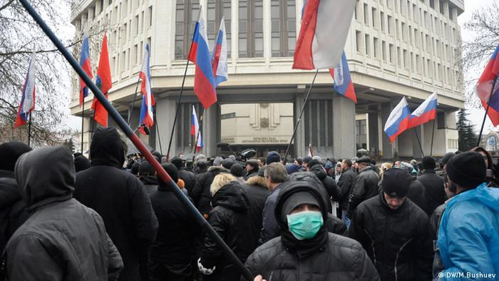 Pro-Russian demonstrations in Simferopol, Crimea.