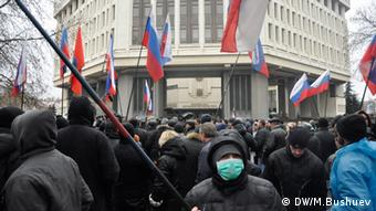 Pro-Russian demonstration in Crimean Simferopol (Photo: Mikhail Bushuev / DW)