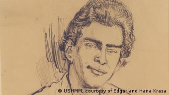 Porträt von Edgar Krasa, Zeichnung von Leo Haas in Theresienstadt, 1943 (© USHMM, courtesy of Edgar and Hana Krasa)