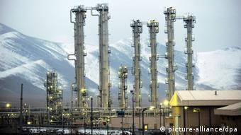 Nuclear reactor against a mountain range