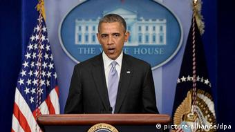 US-Präsident Barack Obama am Rednerpult (Foto: picture-alliance/dpa)