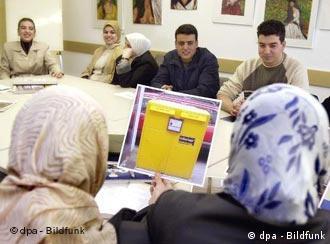 Curso de integración de refugiados en Alemania.