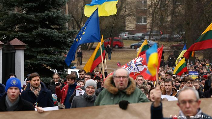 Demonstrators outside the Russian embassy in Vilnius