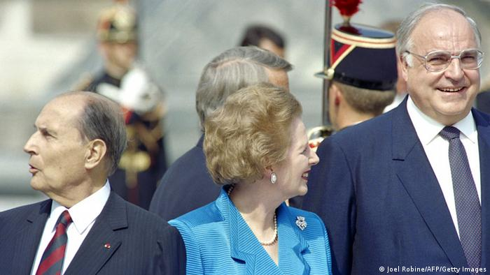 Mitterand (left), Thatcher and Kohl at a summit (Joel Robine/AFP/Getty Images)