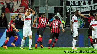 Alex Meier celebrates what was to be the winner for Frankfurt against Stuttgart. Photo: dpa