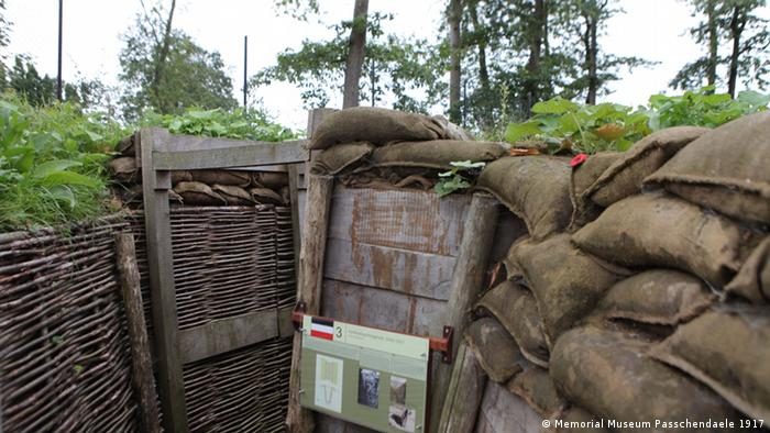 Reconstructed trench in the Memorial Museum in Passchendaele